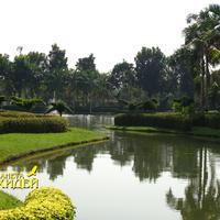 Необычной формы пруды, окаймлённые пальмами и искусно подстриженными кустами в обрамлении изумрудных лужаек - встречаются практически в каждом парке