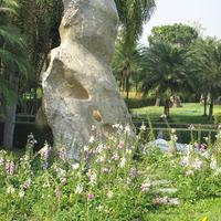 Кусок камня, напоминающий скульптуру, окружённый колокольчиками